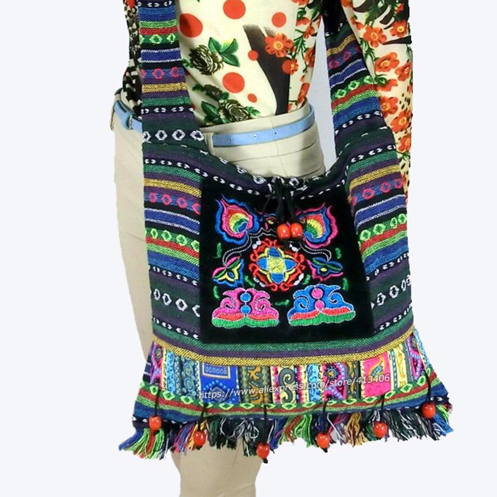Livraison gratuite Vintage Hmong Tribal ethnique thaï indien Boho sac à bandoulière message sac lin à la main broderie tapisserie SYS-083F