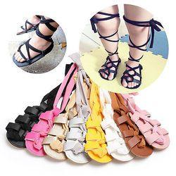 Bebé recién nacido vendaje de cuero Sandalias verano Pram Soft Flat Zapatos