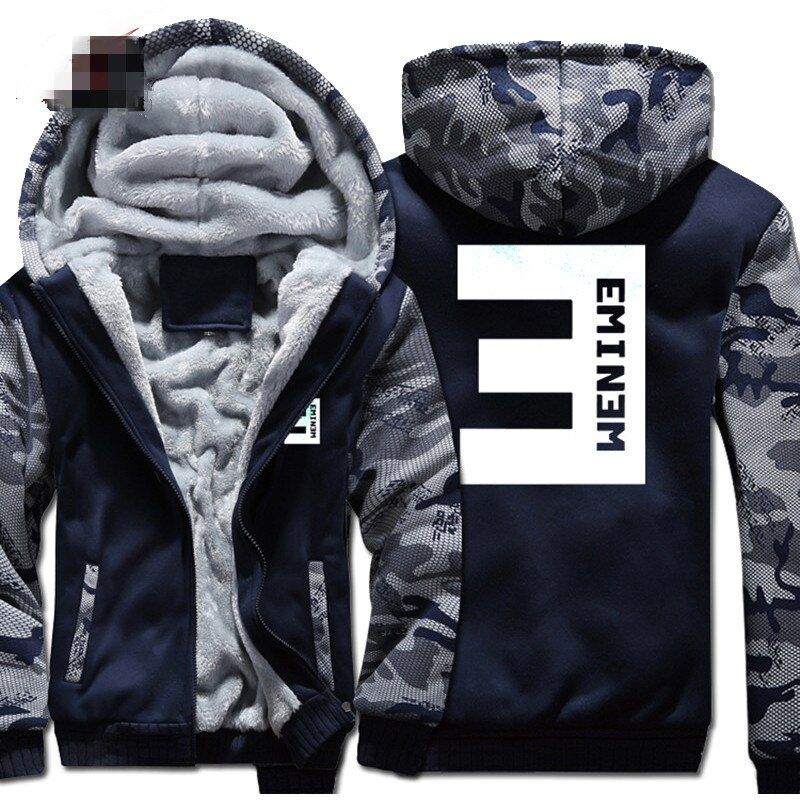 New Eminem Hoodies Warm Jackets Men Winter Hip Hop Coat Fashion Men Thicken Zipper Striped Patchwork Hooded Sweatshirts Tops