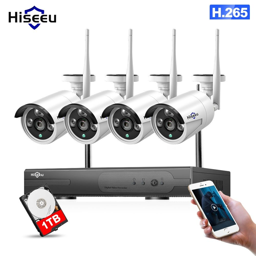 WIFI IP-Kugel Kamera 1080 p 4 stücke NVR Drahtlose CCTV Security System Kit Infrarot Cam Remote Betrachtung durch IP pro 1 t hdd