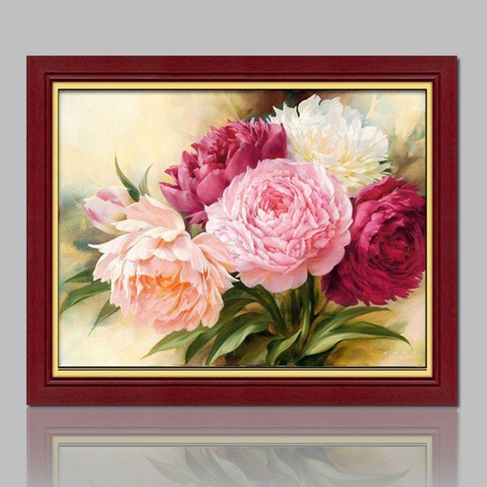 [Super offres] mosaïque pleine pose diamant peinture point de croix perles beauté pivoine fleurs broderie carré strass mur décor
