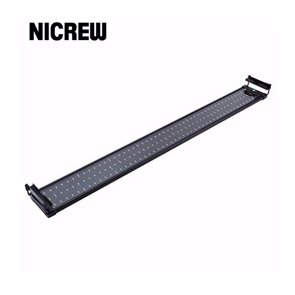 Nicrew 96-115cm Aquarium LED Lighting Fish Tank Light Lamp with Extendable Brackets 120 White and 24 Blue LEDs Fits for Aquarium