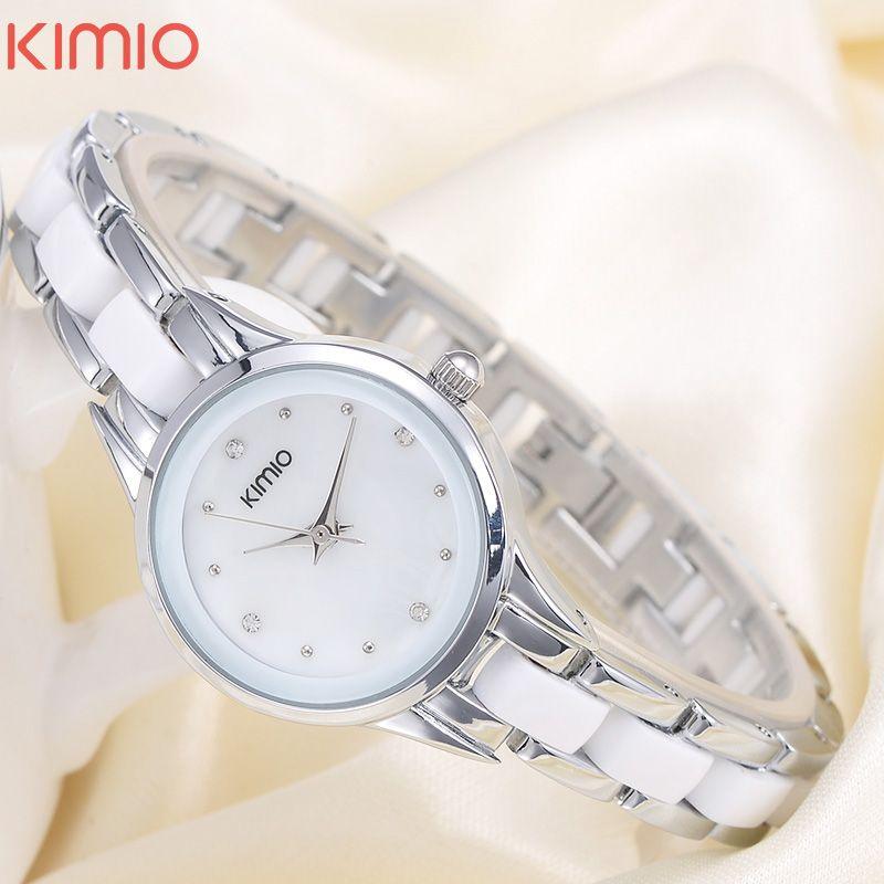 KIMIO модный бренд кварцевые часы Водонепроницаемый часы-браслет для Для женщин со стразами сплава наручные часы Relogio feminino 450