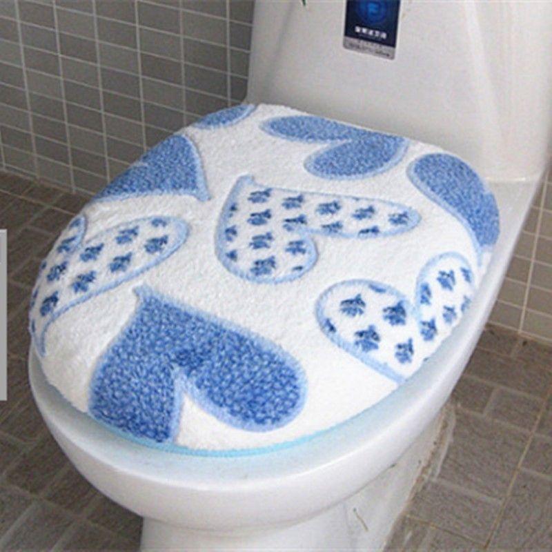 Super Doux Corail Polaire Deux-pièces De Toilette Pad Siège Couverture Chaude Propre Lavable Twin Set