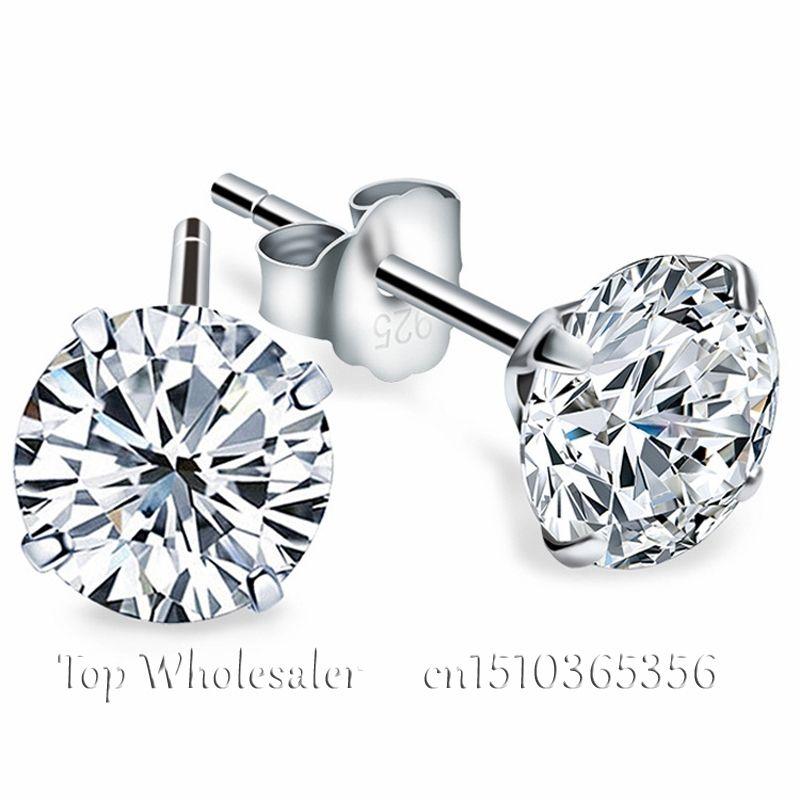 Aretes de plata esterlina genuina 925 con imitación de diamantes corte circonio cubico para damas y caballeros joyería de moda para bodas y compromisos