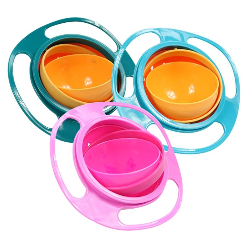 Universal Gyro Bowl Practical Design Children Rotary Balance Bowl Novelty Gyro Umbrella Bowl 360 Rotate Spill-Proof Bowl 2017