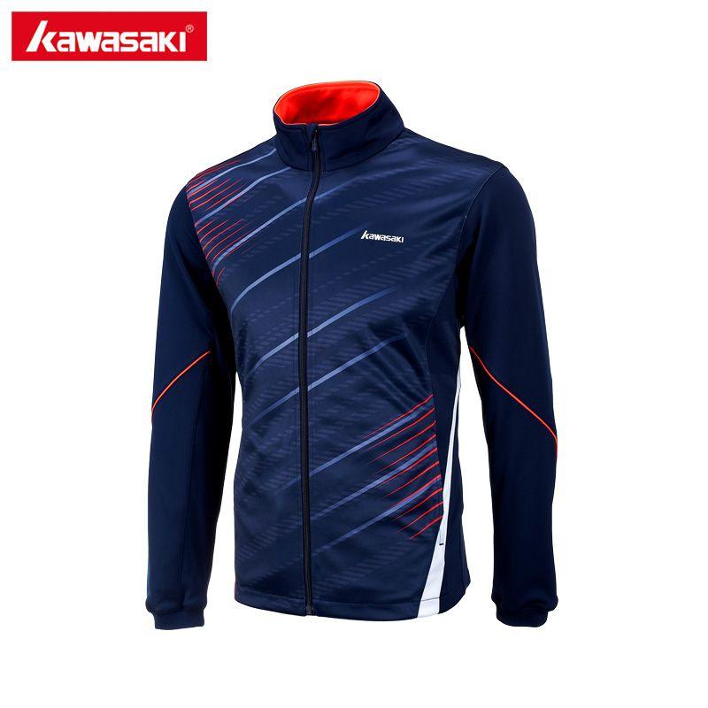 Kawasaki Marque Automne Hommes Sport Vestes Polyester Fitness Gym Veste De Tennis Respirant À Séchage Rapide Bleu JK-17181