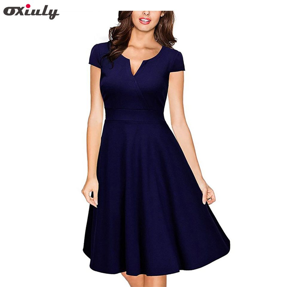Oxiuly Audrey Hepburn 50s Vestidos Womens Dress Formal V Neck Casual <font><b>Office</b></font> Wear Working Bodycon Knee Length A-line Dresses