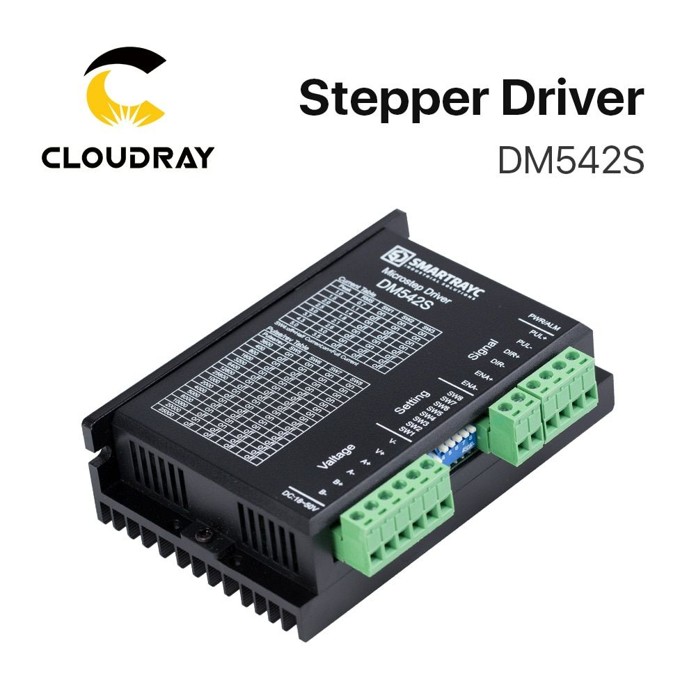 Cloudray 2-Phase Stepper Motor Driver DM542S Supply Voltage 18-50VDC Output 1.0-5.0A Current