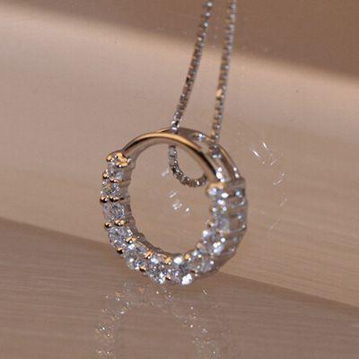 Vente chaude Promotion 2016 Nouveau Brillant Zircon Cristal de Cercle 925 Sterling Argent Femmes Pendentif Colliers Bijoux Cadeau