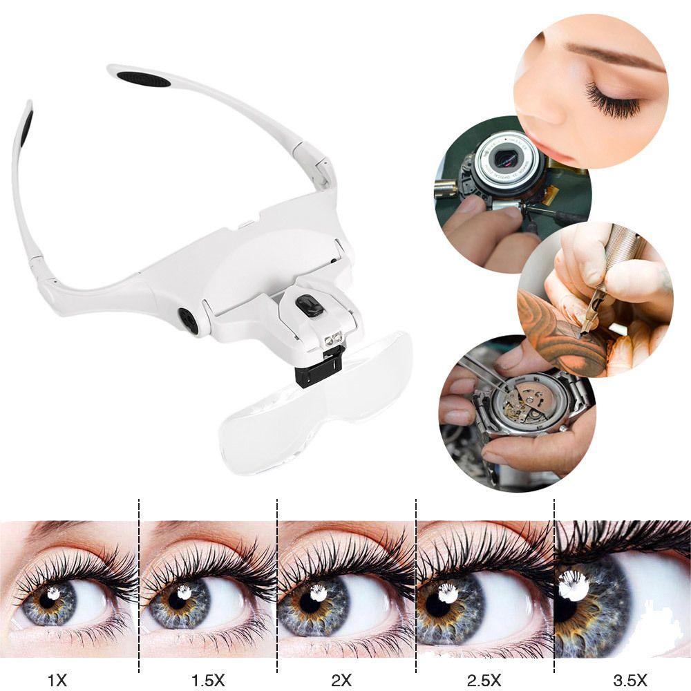 1X 1.5X 2X 2.5X 3.5X loupe Extension de cils lunettes lampe de maquillage bandeau lumière + 2 LED greffe de cils réparation outils de tatouage