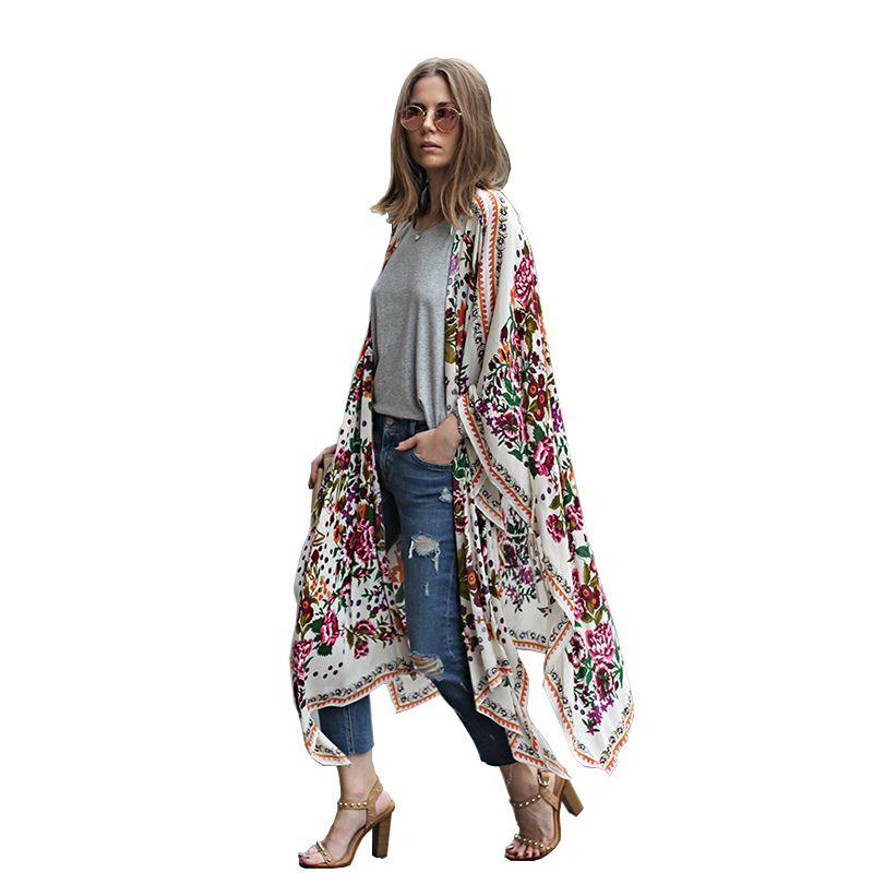 Women Long Chiffon Kimono Cape Cardigan Blusa Feminina Casual Shirts Jackets Long Beach <font><b>Cover</b></font> Up Tops blusa femin