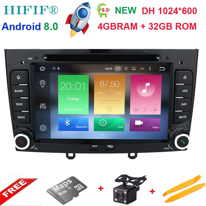 HIFIF 8 Core Android 8.0 OS Special Car DVD for Peugeot 408 2010-2011 & Peugeot 308 I (T7) 2008-2011 with 1024*600 Resolution