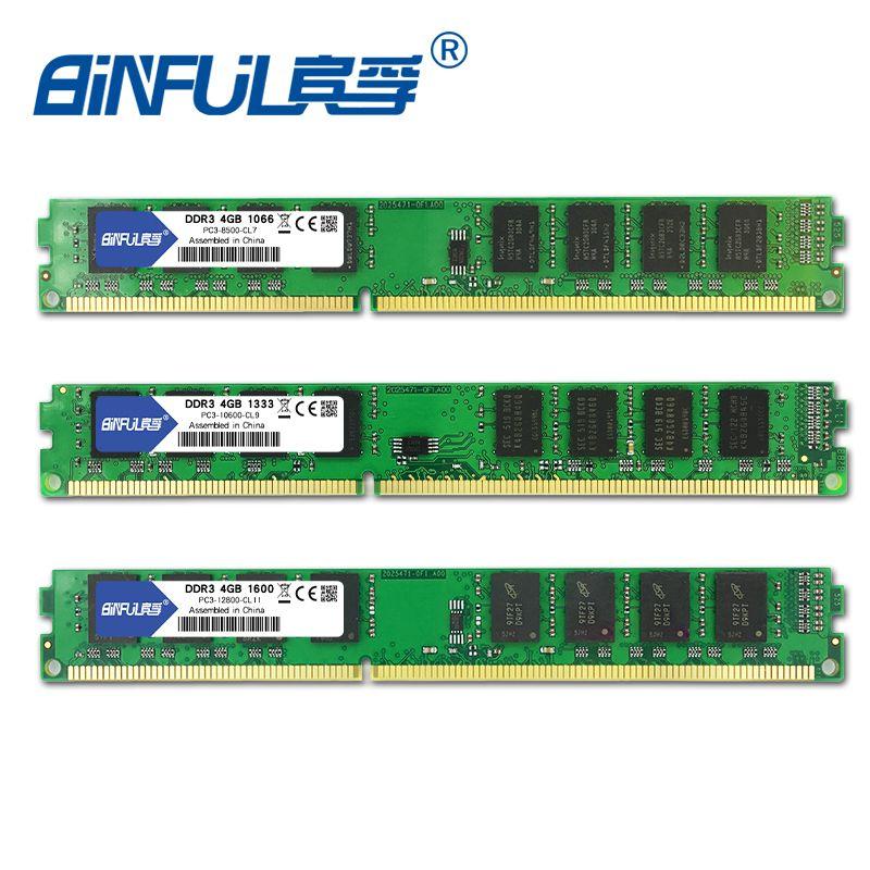 Binful D'origine Nouvelle Marque DDR3 4 GB 1333 mhz 1066 mhz 1600 mhz PC3-8500 PC3-10600 PC3-12800 pour Bureau Mémoire RAM 1.5 V