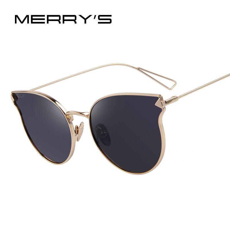 MERRY'S Fashion Women Sunglasses Classic Brand Designer Sunglasses Coating Mirror Flat Panel Lens Shades UV400