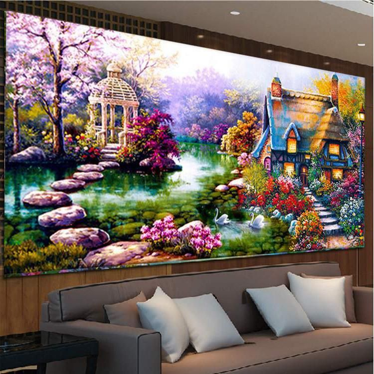 2017 DIY 5D Diamond Painting mosaic Landscapes Garden lodge Cross Stitch Kits Embroidery Home Decor Ferr shipping Round diamond