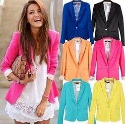 Primavera mujeres Blazers chaquetas pequeño traje de gasa color caramelo chaqueta manga larga Slim suit botón mujeres chaquetas básicas WWT10739