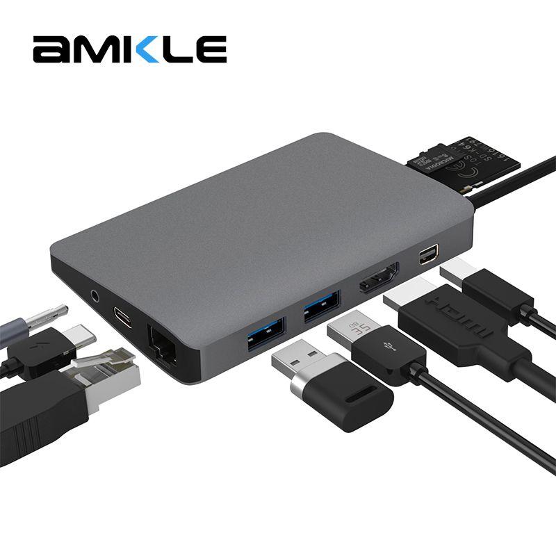 Amkle 9 in 1 USB3.1 Hub Multifunktions USB-C Hub mit Typ-C 4 karat Video HDMI Gigabit Ethernet Adapter USB 3.0 USB C Typ C HUB