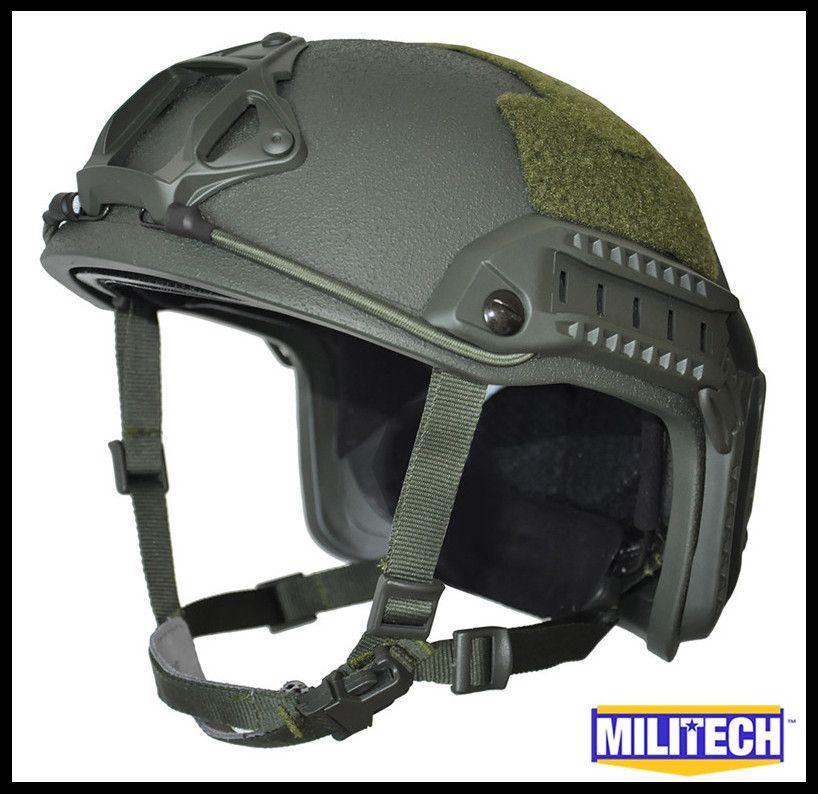 MILITECH Oliver Drab OD Deluxe Super High Cut Maritime NIJ level IIIA Bulletproof FAST Kevlar Bullet Proof Ballistic Helmet CAG