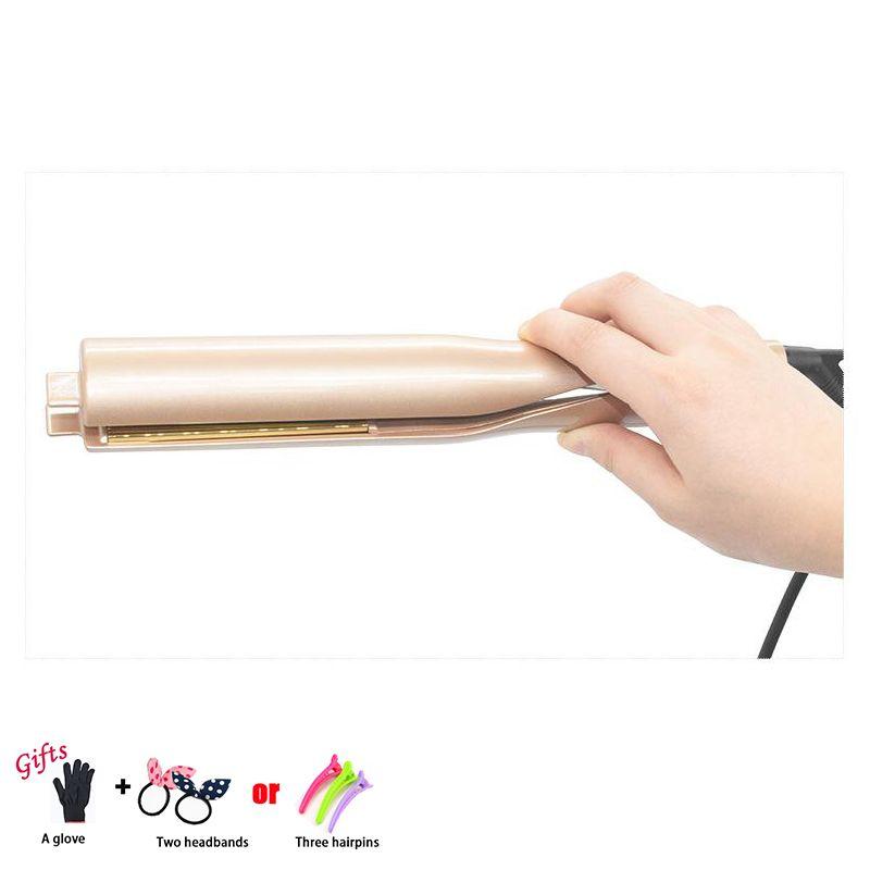 2 in 1 Hair Straightening Pro Salon Hair Curling Curler and Straightner Ceramic Roller Wave Machine Styler Iron Hair Curler C08