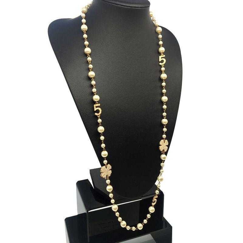 2017 cnaniya marque bijoux simulé perle brin long collier pour les femmes bijoux femmes collier perles col perlas/bijouterie