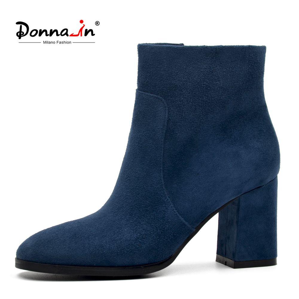 DONNA-IN moutons daim bottines mode bout carré talon épais femmes bottes à talons hauts en cuir véritable lady bottes