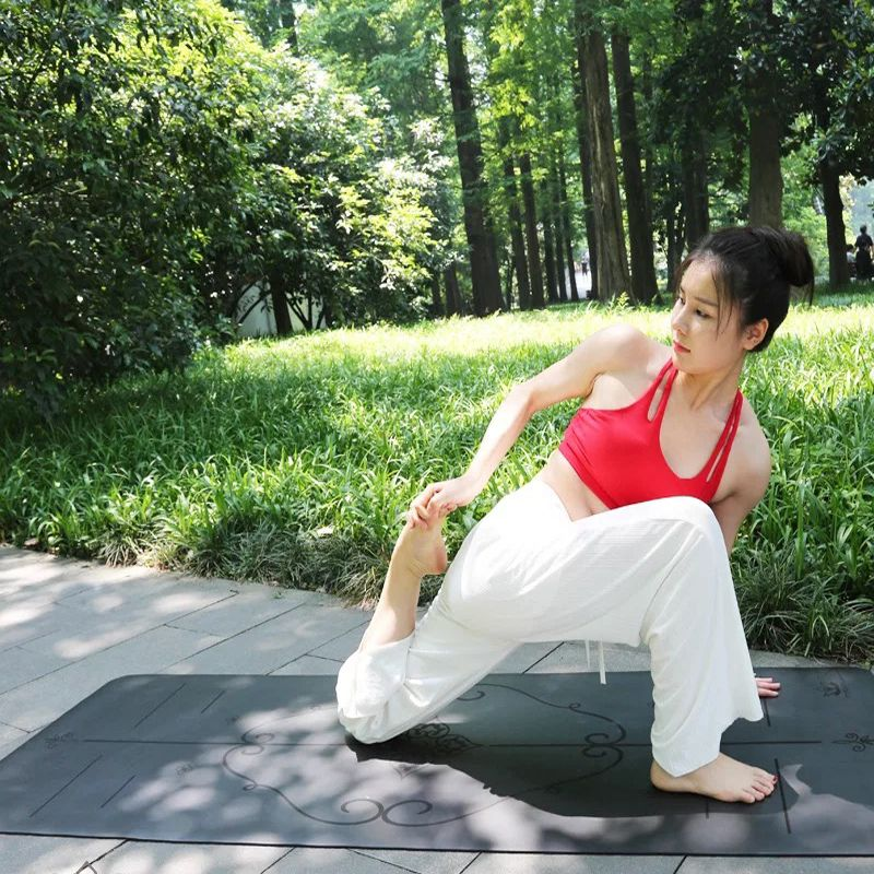 185cm*68cm*4mm Environmental Protection Comfortable Natual Rubber Non-Slip Lose Weight Exercise Mat Fitness Beginners Yoga Mat