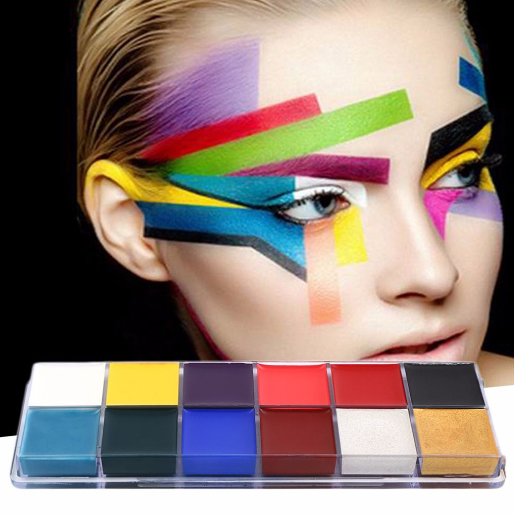12 Colors/set New Style Professional Flash Tattoo Face Body Paint Oil Painting Art Makeup Tools body make up