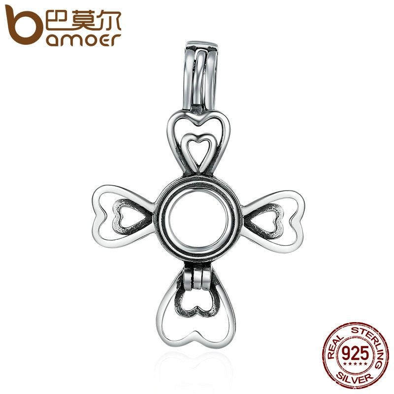 BAMOER Authentic 100% 925 Sterling Silver Lucky Love Clover Petal Heart Cage Pendant fit Women Chain Necklace jewelry SCP018