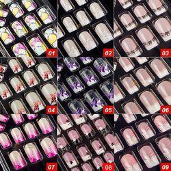 44 Style Options 24 pcs Par Ensemble Acrylique Pleine Couverture Ongles Conseils faux Ongles Art Avec Colle Artificielle Pré Conçu Faux Ongles Conseils