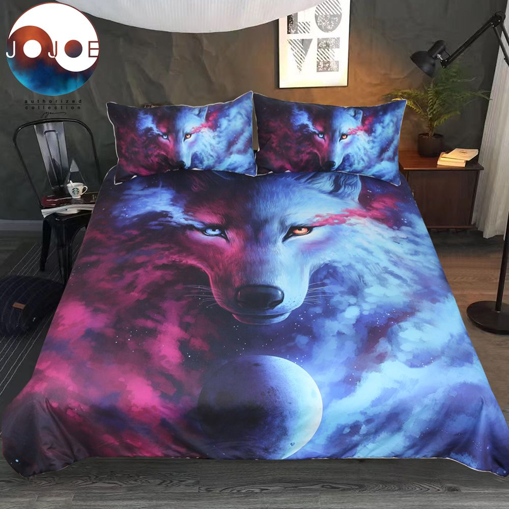 Where Light And Dark Meet by JoJoes Bedding Set Wolf 3D Duvet Cover With Pillowcases Wolf Eye Bed Set 3pcs Art Print Bedclothes