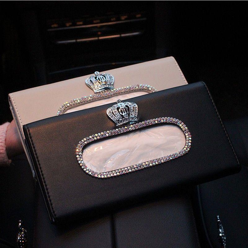 Fashion Crown Crystal Car Tissue Box Sun Visor Leather Auto Tissue Bag Sunvisor Hanging Holder Case Napkin For Car Accessories