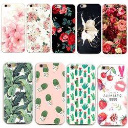 Téléphone Cas Capa Pour Coque iphone 7 Cactus Couverture Fleur Rose Feuilles Des Plantes Silicone Shell Funda Pour iphone 7 plus 8 6 6 s 5S se 5