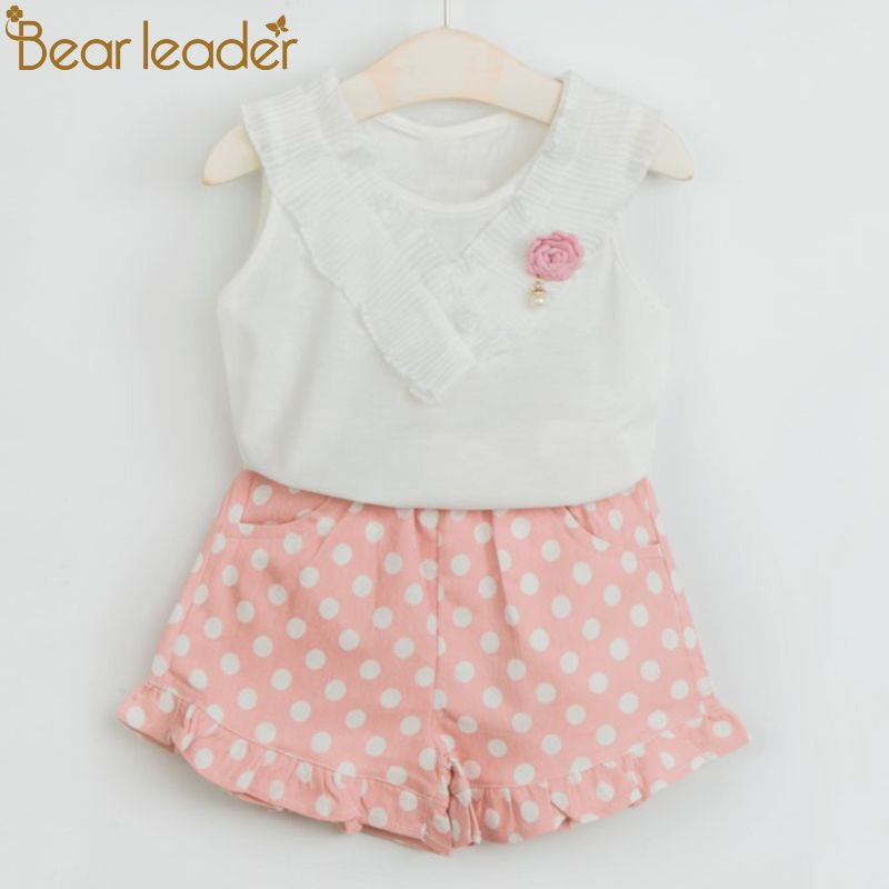 Bear Leader Girls Clothing Sets 2018 New Brand Summer Kids Clothes Solid Color Lace Clothes+Dot Short Pants 2Pcs For 2-6 Years