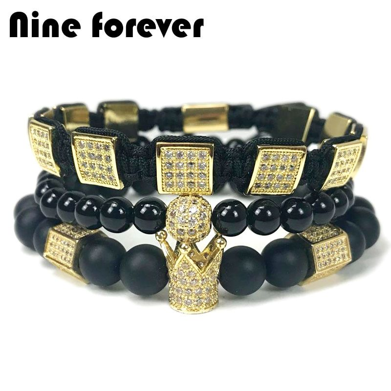Nine forever natural stone beads bracelet men jewelry hexagon crown charm braiding bracelets pulseira masculina bileklik