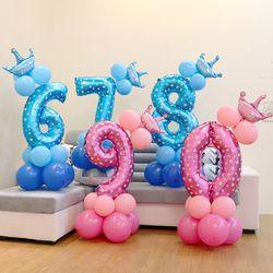 13 unids/set cumpleaños azul Rosa número globos 1 2 3 4 5 6 7 8 9 años feliz decoraciones de fiesta de cumpleaños niños globo