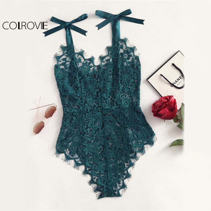 COLROVIE Ribbon Floral Lace Bodysuit Bow Tie Shoulder Women Green Cute Summer Bodysuits 2017 Sexy See Though Elegant Bodysuit
