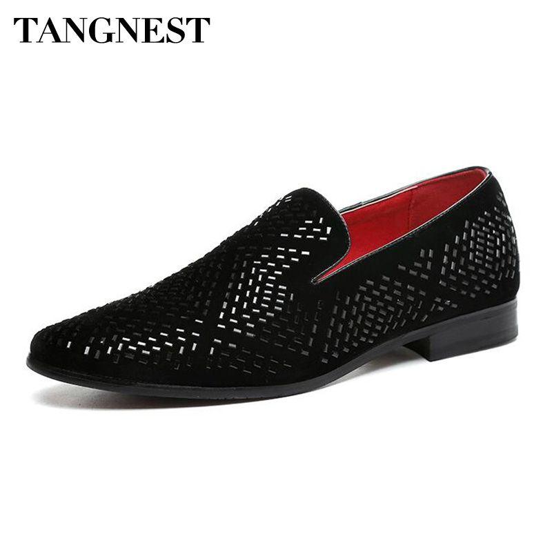 Tangnest luxe hommes robe chaussures mode bout pointu mocassins Split cuir conduite mocassins Bling Party chaussures de mariage XMP811