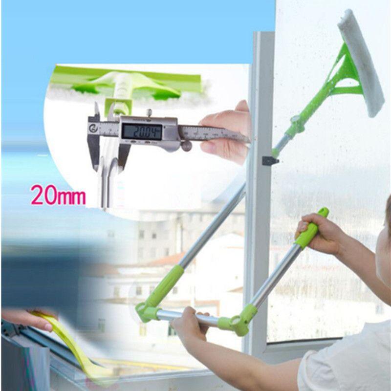 Outil de brosse de nettoyage de vitres en verre tige télescopique dispositif de nettoyage de vitres Double grattoir de verre latéral essuyage brosse de nettoyage à domicile