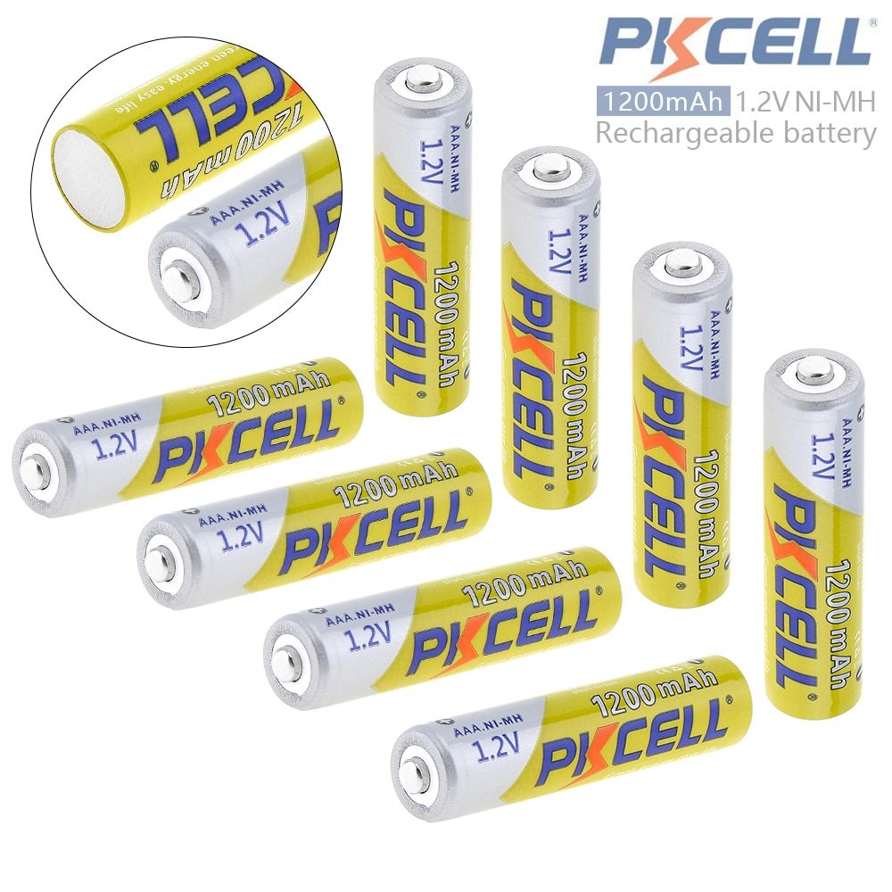 8pcs Pkcell 1.2V 1200mAh AAA Battery Ni-Mh <font><b>NiMh</b></font> AAA Rechargeable Battery with Safety Relief Valve for Camera Toy Remote Control