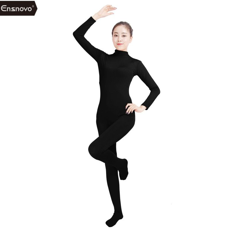 Ensnovo Women Lycra Nylon White Long Sleeve Turtleneck Unitard Custom Skin Suit Body Tights Full Body Dancewear Costumes Spandex