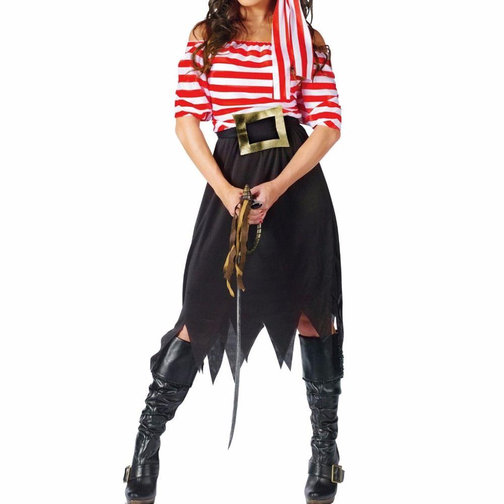 Для женщин костюм пирата девушка Экипаж костюм костюмы на Хэллоуин пират Косплэй короткий рукав полосатый платье Юбки для женщин для леди