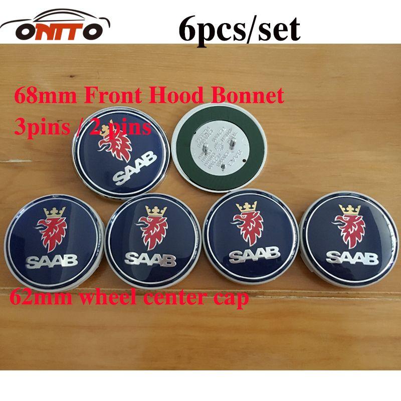 6pcs Car Badge stickers 68mm Front Hood Emblem+Rear Emblem+62mm saab Wheel Hub Cap for 9-3 9-5 93 95 BJ SCS