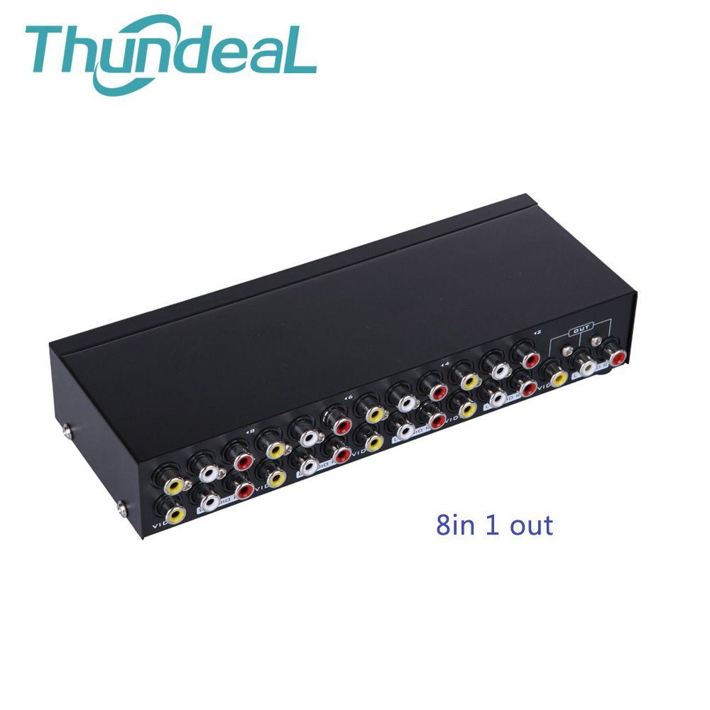 Thundeal Commutateur AV Boîte 4 en 1 sortie Audio AV Signal Vidéo Composite pour la TVHD LCD DVD 3 RCA Commutateur 8 à 1 Sélecteur pas Diviseur