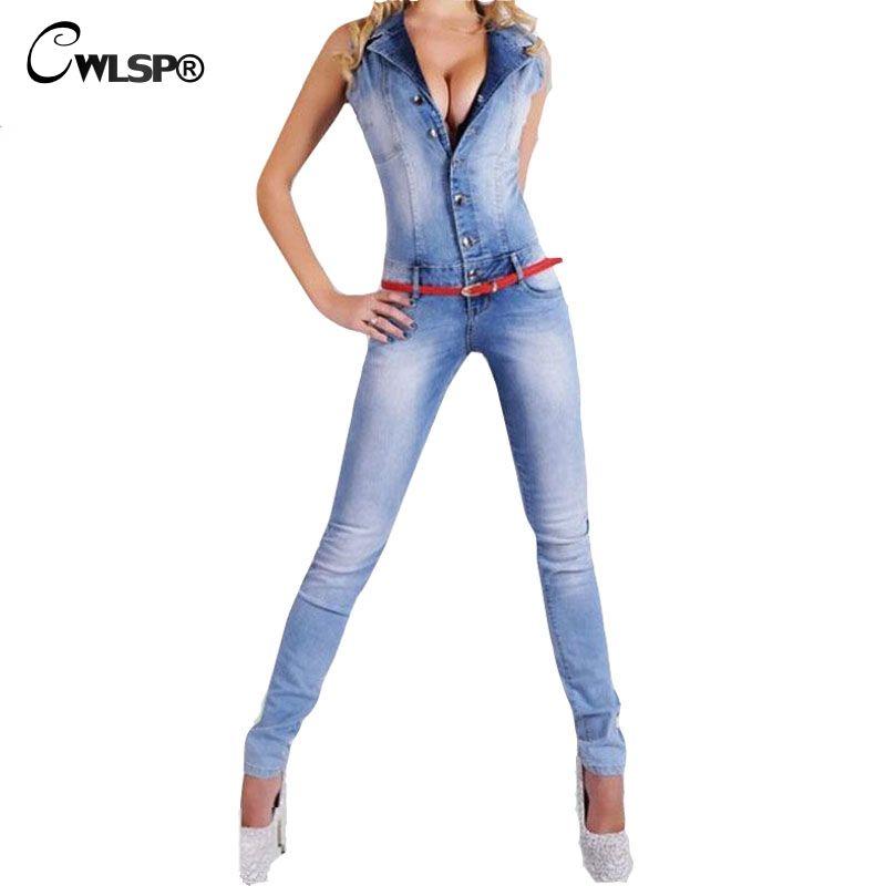 CWLSP Denim Barboteuses Femmes Combinaisons Sexy Moulante lavé blanc Unique Bouton Salopette Sans Manches Skinny Jeans Combinaisons