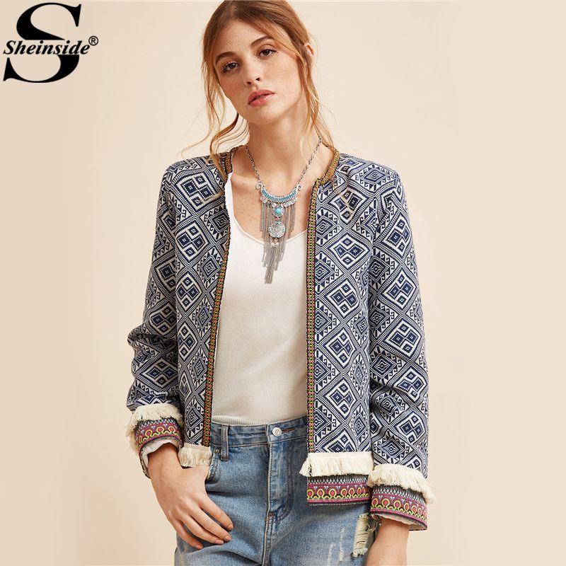 Sheinside Tribal Embroidered Jacket Blue Vintage Fringe Tape Trim Women Autumn Coat 2017 Spring Long Sleeve Elegant Boho Jacket