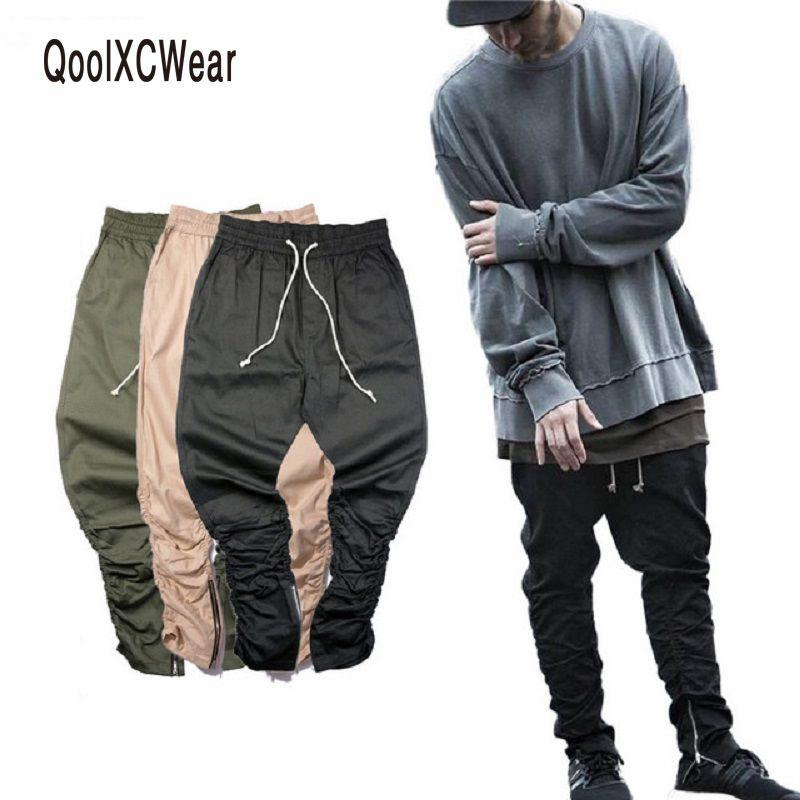 Qoolxcwear Джастин Бибер Марка Боковая молния мужчин Slim Fit повседневные мужские в стиле хип-хоп Jogger Байкер Штаны SWAG пот Штаны обтягивающие брюки