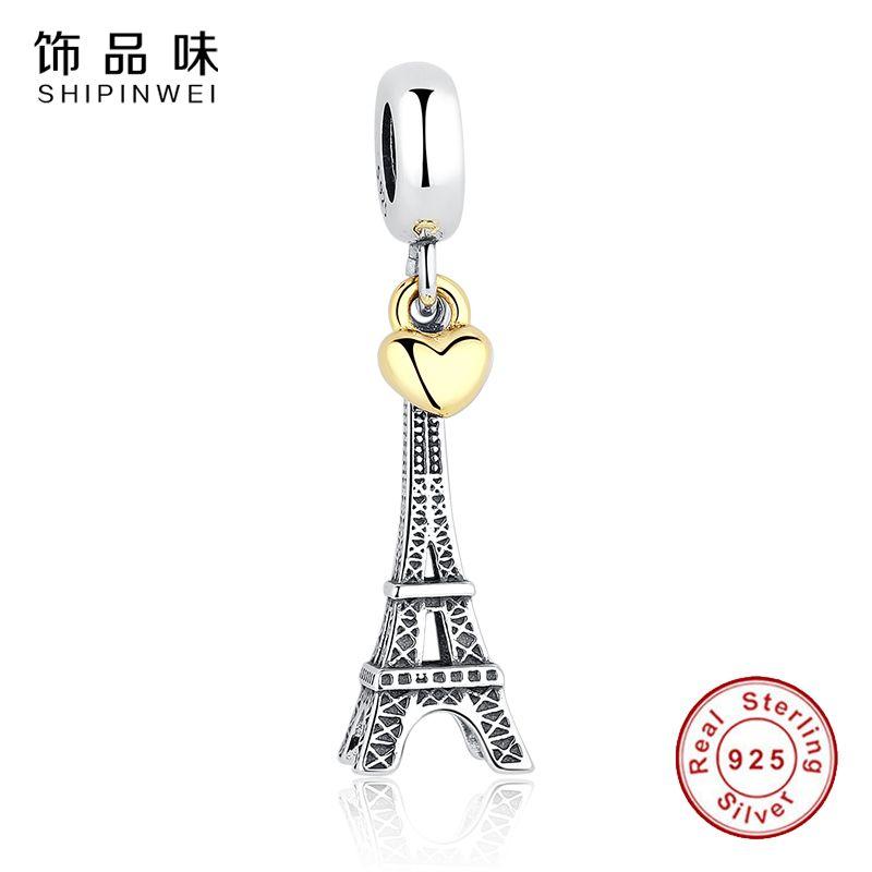 Réel 925 Sterling Argent TOUR EIFFEL Charme Or Couleur Coeur Charmes Perles fit Original Pandora Bracelet Pendentif Femmes Bijoux