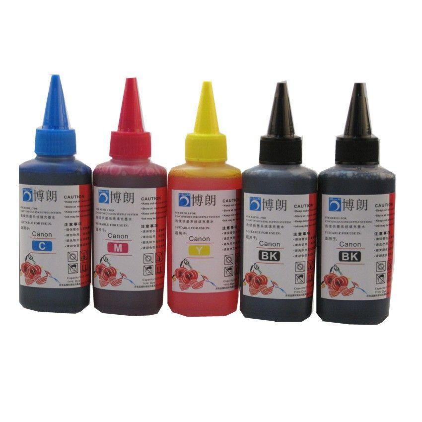 5 farbe dye-tinte für CANON 100 ML Nachfülltinte Kit 100 ml flasche großuniversaltonerpulver INK nachfüllbare tintenpatrone ciss für CANON drucker
