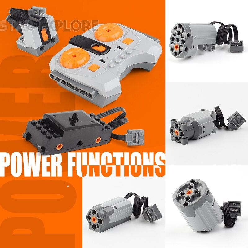 Lepining Technic Power Functions Motor Train Motor Set IR RX TX Servo Battery Box Blocks Toys Compatible LegoINGs 20004 20001